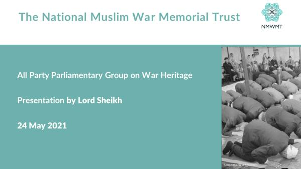 Cover slide for Lord Sheikh's presentation