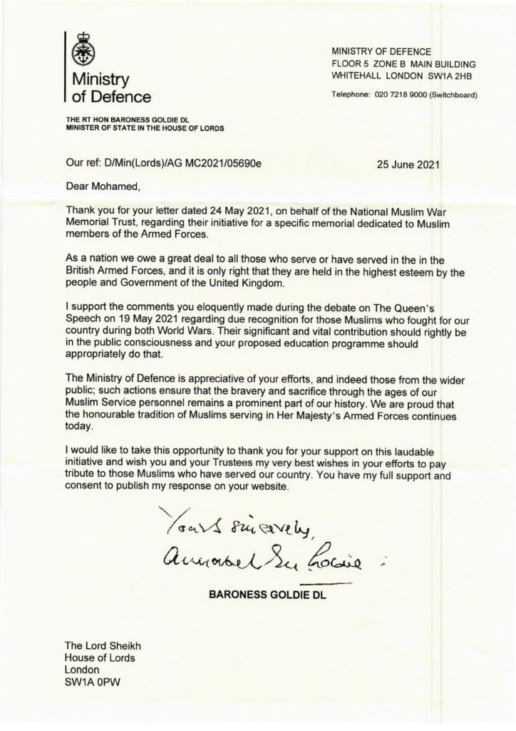 Endorsement letter from Baroness Goldie